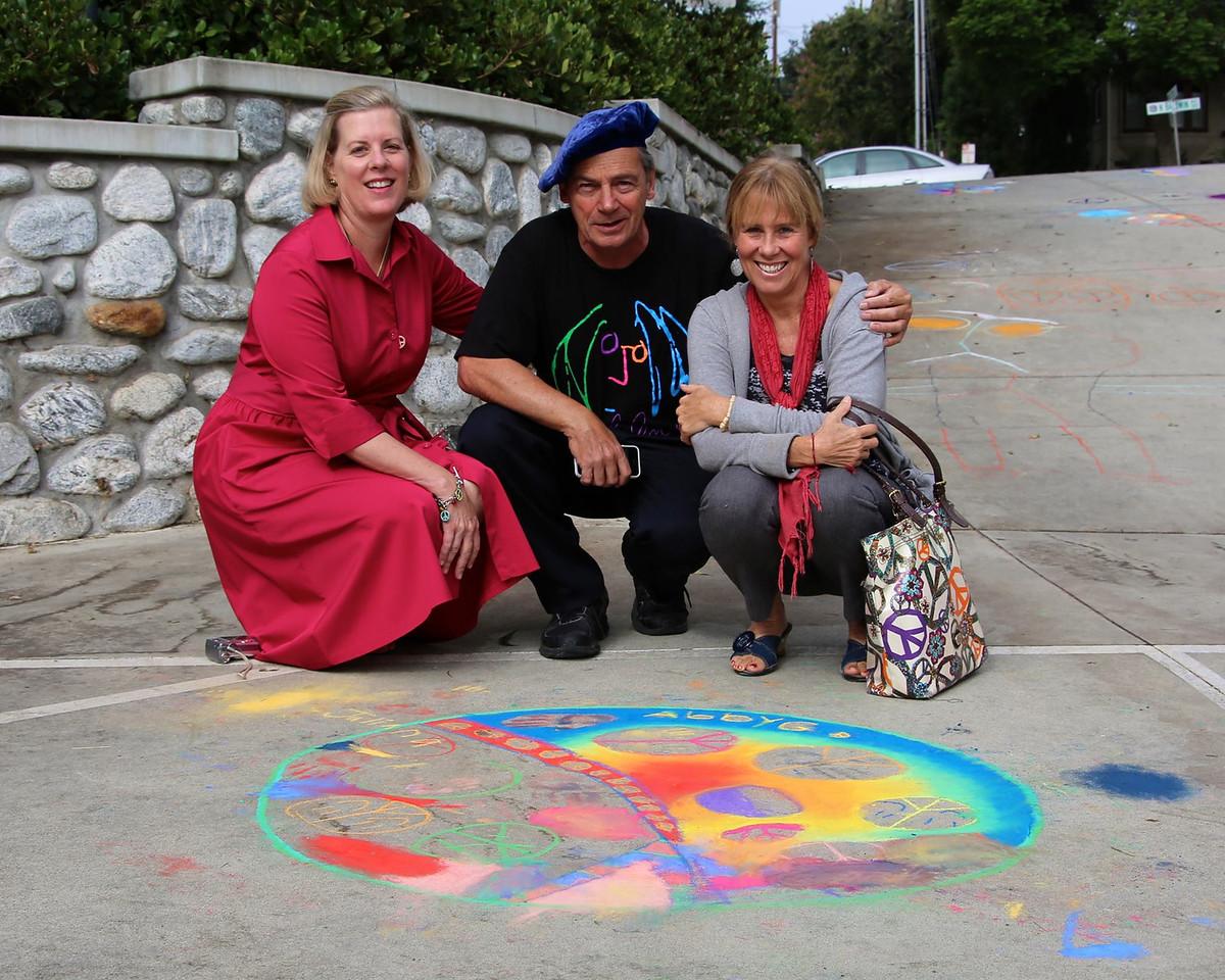 CHALK4PEACE 9/14/13  Marianne van Voorst Ryan, John Aaron, Sharon Hall Gooden School Sierra Madre, CA photo: Meghan Snyder