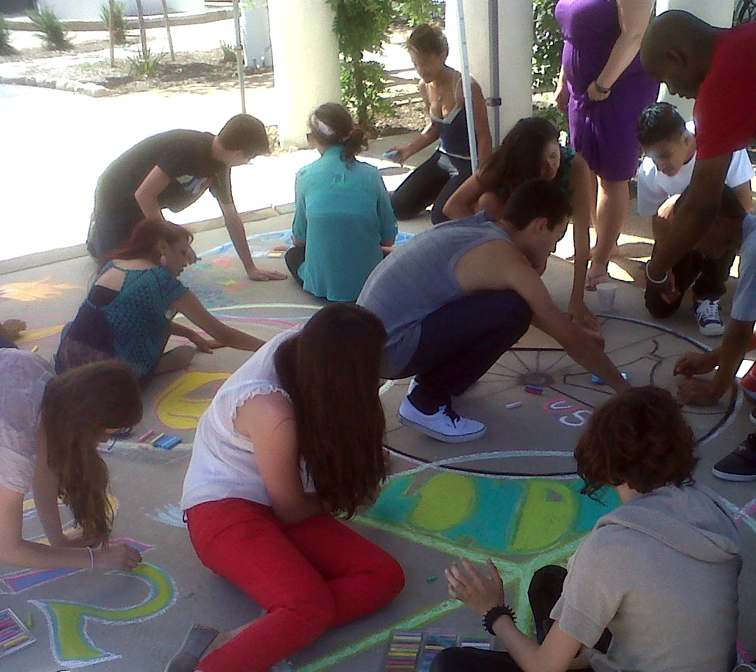 London Calling Ripples' Olympics Opening Tribute in chalk MOB Shop, Ojai photo: John Aaron