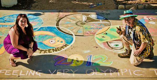 London Calling Ripples' Olympics Opening Tribute in chalk MOB Shop, Ojai photo: Rudy Lupidias