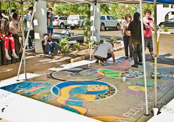 London Calling Ripples' Olympics Opening Tribute in chalk MOB Shop, Ojai photo: Rudy Lupidias