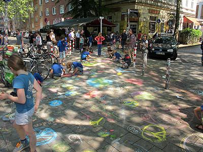 Grundschule Sternschanze, Hamburg  Kreide für den Frieden 2014