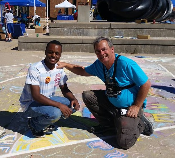 Brandon and John Drawing FergUSon Together: A Vision of Peace; Sept. 18-19, 2015 Social Justice Summit and Community CHALK4PEACE Celebration   St. Louis Community College, Florissant Valley Ferguson, Missouri