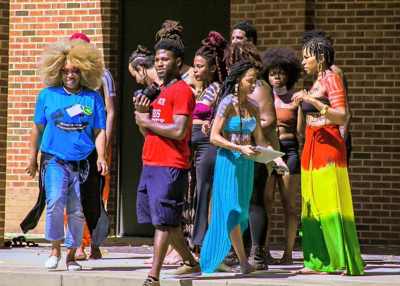 Larhonda checking in with the performers Drawing FergUSon Together: A Vision of Peace; Sept. 18-19, 2015 Social Justice Summit and Community CHALK4PEACE Celebration   St. Louis Community College, Florissant Valley Ferguson, Missouri