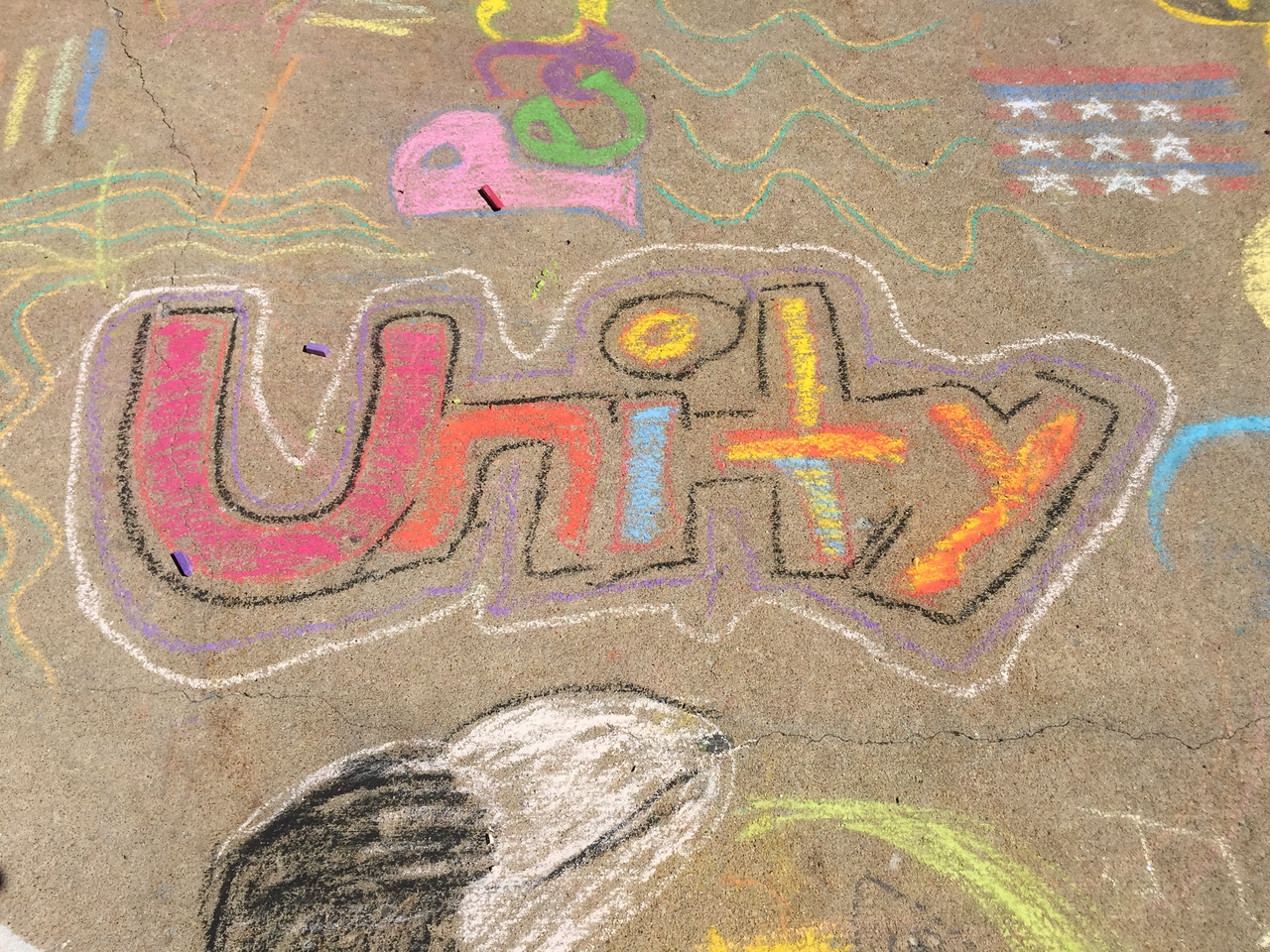 Unity Drawing FergUSon Together: A Vision of Peace; Sept. 18-19, 2015 Social Justice Summit and Community CHALK4PEACE Celebration   St. Louis Community College, Florissant Valley Ferguson, Missouri