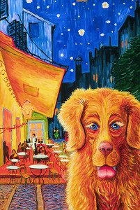 """Vince, Got a Biscuit?"" (after van Gogh) Oil on canvas 24"" x 18"" Collection: Sue Williamson, Ojai, CA"
