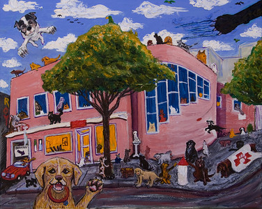 """Unleashed"" Oil on canvas Pets Unlimited is a veterinary hospital and shelter in San Francisco. This painting is in their collection."
