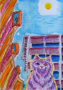"""Kitty In The City"" 2006 Mixed media 30"" x 20""  Retail $1000."