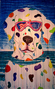 """Spotty Coverage: Born on the 4th of July"" (2003)  Watercolor, pen & ink; 72"" x 45"" Retail: $2000. (unframed) Please note: This character, Spotty Coverage, is a trademark of Modern ARF.  Any unauthorized use is prohibited."