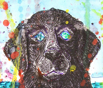 "Detail: ""Watchdog, Deep Horizons"" Mixed media on paper 22"" x 18"" 500."