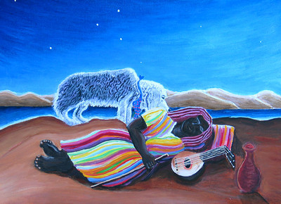 """Let Sleeping Gypsies Lie #3"" (after Rousseau) Oil on canvas 9"" x 12"" $700"