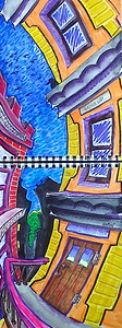 "Going UP? Watercolor, mixed media 24"" x 9"" Price on request"