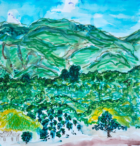 "East End Upper Ojai (Triptych) Panel 2 9"" x 27"" Watercolor, mixed media Price on request"