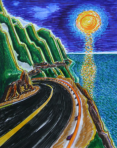 "Hwy 1 Orange Moon Watercolor, pen and ink on paper 17"" x 14"" Private collection"