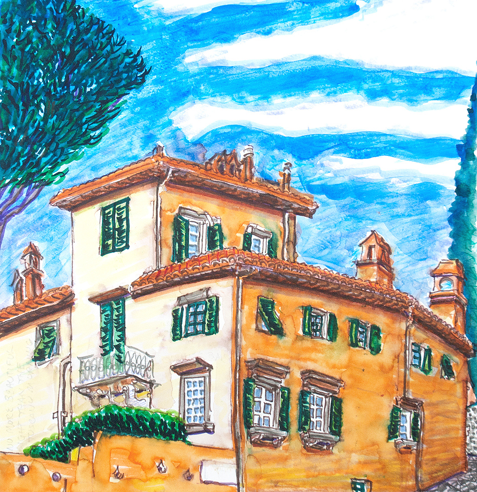 "Villa Fisola, Firenze 12"" x 12"" watercolor, mixed media price available upon request"