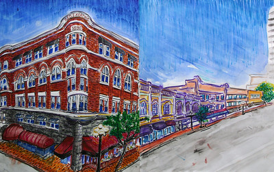 "Gaslamp District, San Diego Keating Buildng (Croce's) Watercolor, Mixed media 22"" x 36"" Collection Fred Knorr, Esq."