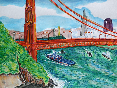 "Golden Gate Wan Hai Line Watercolor, Mixed media 11"" x 14"" Collection W. Fischer, Stuart, FLA"