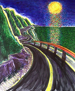 "Hwy 1 Orange Moon #2 2011 Watercolor, pen and ink on paper 22"" x 18"" Price on request"