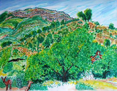 "Topa Topa Ridge, Ojai, CA My father's and grandparent's ashes are scattered along that ridge. Watercolor, Mixed media 18"" x 22"" price on request"