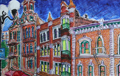 "Gaslamp District Watercolor. Mixed media 18"" x 22"" Collection Fred Knorr, Esq."