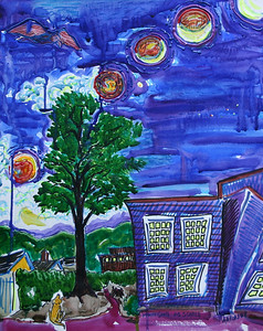 "Lunar Eclipse # 2 20"" x 16"" Watercolor, mixed media price on request"