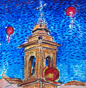 "Clown Campanile Monte San Giusto Monte San Giusto, Italy Watercolor, mixed media 12"" x 12"" photo: Jerry Downs Photography Price on request"