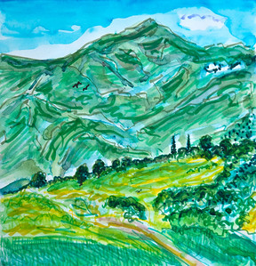 "East End Upper Ojai (Triptych) Panel 1 9"" x 27"" Watercolor, mixed media Price on request"