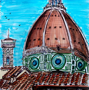 "The Duomo, Firenze 12"" x 12"" watercolor, mixed media photo: Jerry Downs Photography price available upon request"