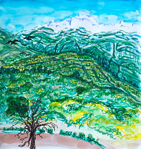 "East End Upper Ojai (Triptych) Panel 3 9"" x 27"" Watercolor, mixed media Price on request"