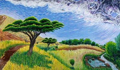 "HEAVEN (African veld) Oil on canvas 36"" x 60"" photo: Jerry Downs Photography Collection: R. Asche, Ojai, CA"