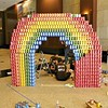 """""""Can You Taste the Rainbow?"""" by P2S, Inc. and MHP, Inc. on Build Day. Special thanks to Trader Joe's. 1,900 cans."""