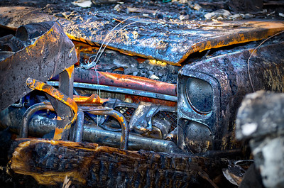 Burned gto ,Detroit Muscle Auto fine art photographs
