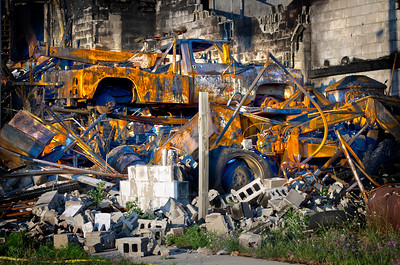 burned tow truck ,Detroit Muscle Auto fine art photographs
