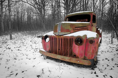 red ford fire truck 1940's abandon
