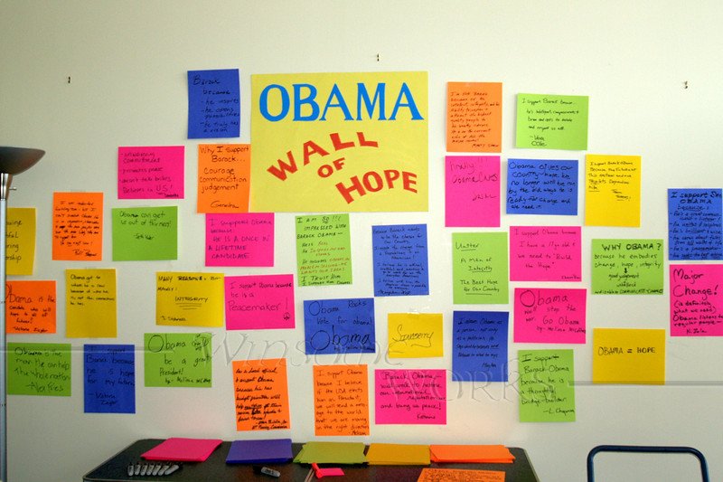 Wall of Hope in Obama campaign office, Quakertown PA