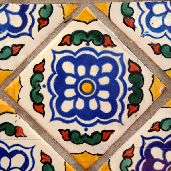 Vintage tiles on restaurant wall in San Diego Old Town