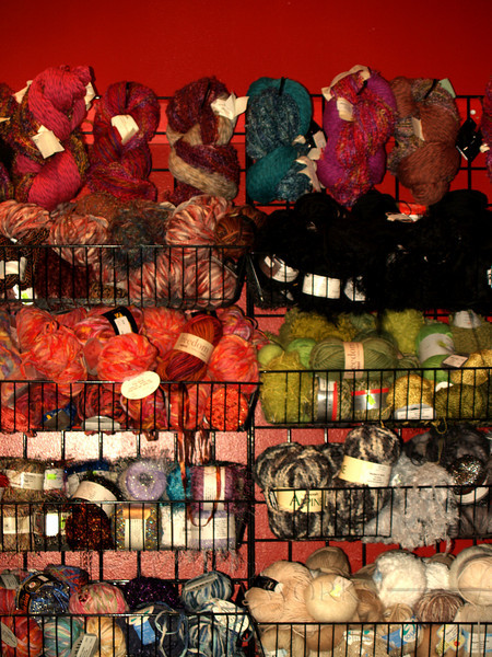 Colorful yarns in shop, Asheville