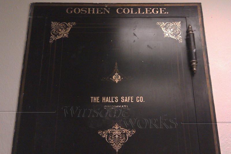 Old door of safe at Goshen College