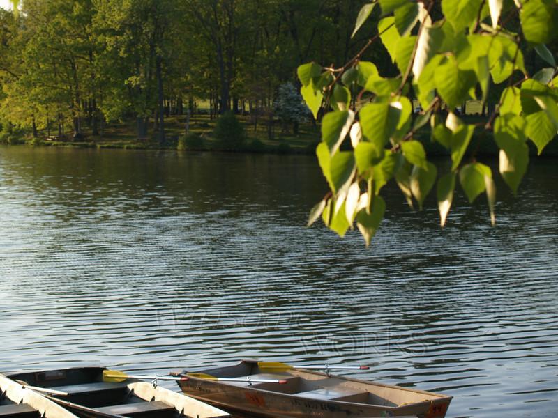Rowboats, near dusk at Green Lane Reservoir