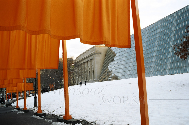 """""""The Gates"""" (Christo & Jean-Claude) in front of the Egyptian Wing of the Met. Museum of Art, Central Park"""