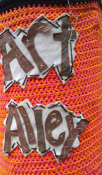 Knit bombing in Art Alley - Goshen, IN