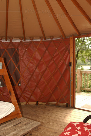 Inside view of our yurt at Trap Pond