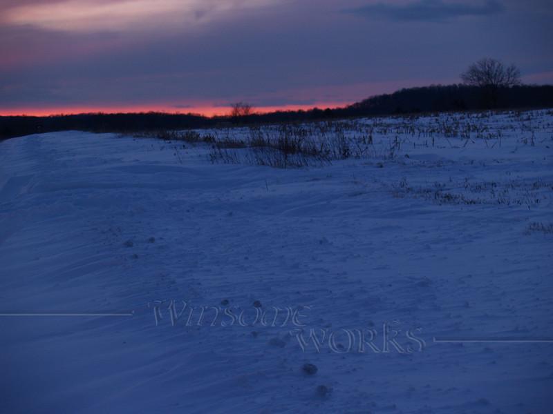 Sunset snow scene on Bauman Road; Milford, PA