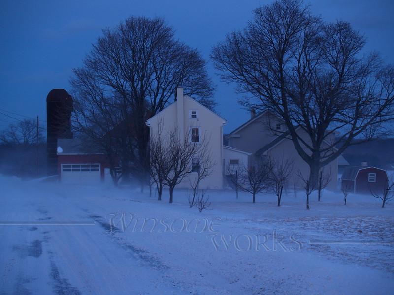 Farm in blustery twilight on Bauman Road, Bucks County