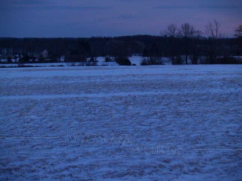 Snowy scene at dusk on Bauman Road; Milford, PA