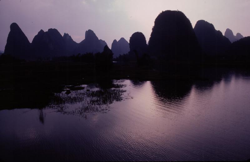 Limestone karsts at sunset in Guilin, China