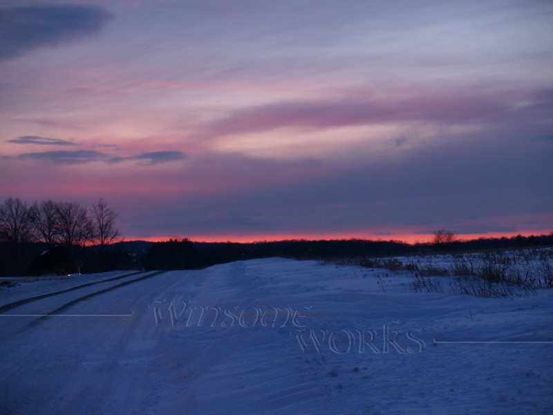 Snowy sunset on Bauman Rd. - Milford Square, PA