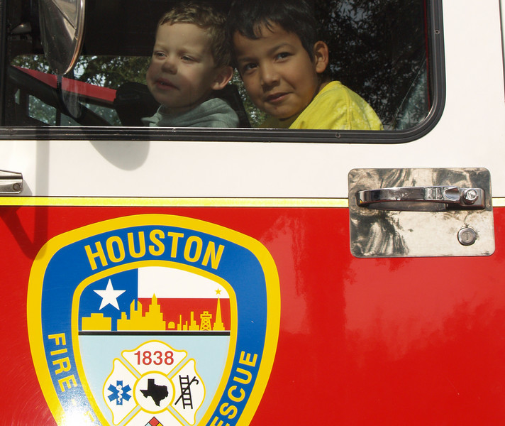 Dominic & Christian in Fire Truck