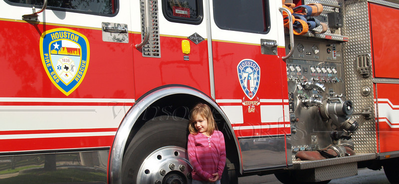 Abigail with Houston Fire Truck