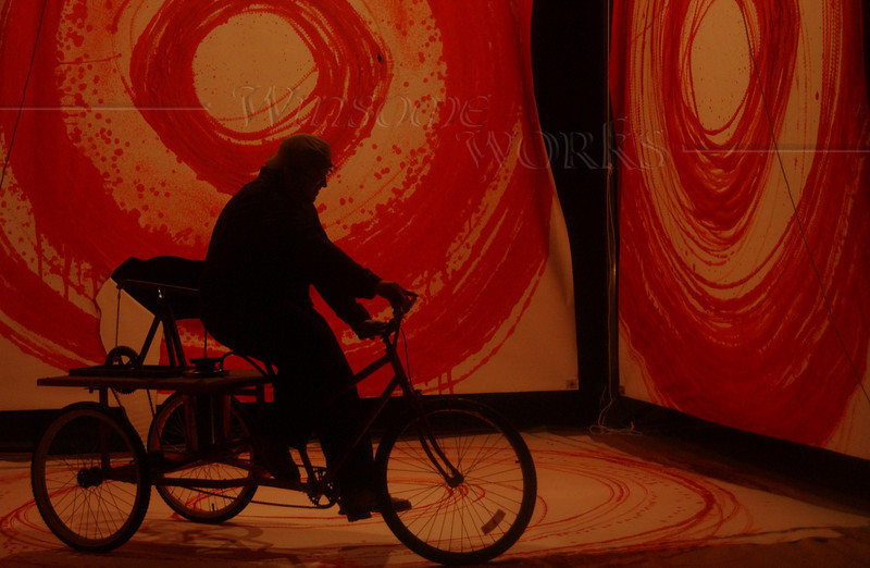 Contemporary art in progress - Bicycle Circles in Red
