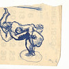 Two Acrobats.  Blue ink on paper.  Unsigned.  5 1/4 x 5 1/2 in. (13 x 14 cm.)  Drawn on back of 1933 calendar page.